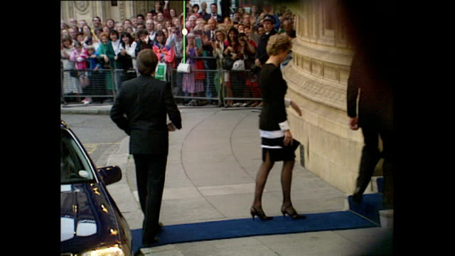 exterior shots of princess diana, princess of wales arriving at royal albert hall for a tribute concert for sammy davis jr wearing a black & white... - gala stock videos & royalty-free footage
