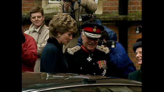exterior shots of princess diana princess of wales arriving at the seeability centre for blind and partially sighted and being given bouquet by child... - visual impairment bildbanksvideor och videomaterial från bakom kulisserna