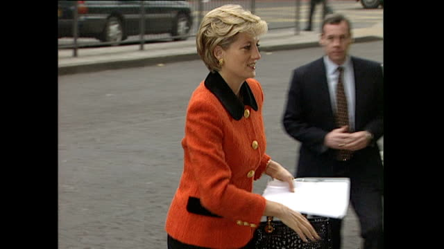 Exterior shots of Princess Diana Princess of Wales arriving at the Welcome Trust Building for the 30th Anniversary of International Leprosy...