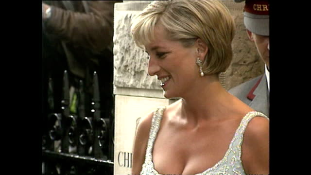 exterior shots of princess diana princess of wales arriving for christie's dresses auction launch on 2 june 1997 london england - princess diana stock videos & royalty-free footage