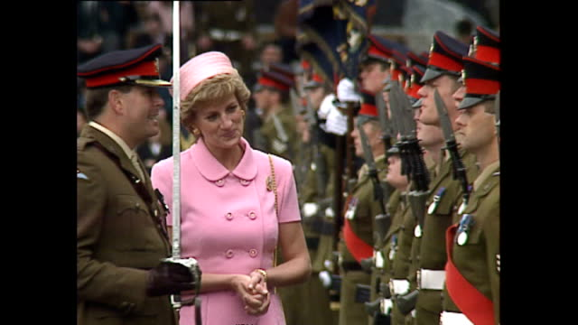 exterior shots of princess diana, princess of wales, at howe baracks to present colours to the 2nd battalion of the princess of wales regiment on 20... - princess stock videos & royalty-free footage
