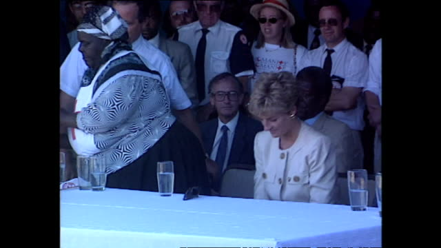exterior shots of princess diana princess of wales being presented with a gift at a red cross water station during her royal tour on 12 july 1993... - rotes kreuz organisierte gruppe stock-videos und b-roll-filmmaterial