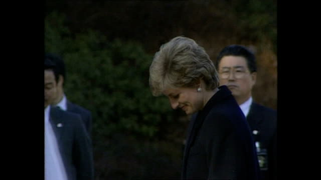 exterior shots of princess diana, princess of wales, being shown round yokohama war cemetery, a commonwealth war cemetary, taking part in memorial... - japan stock videos & royalty-free footage