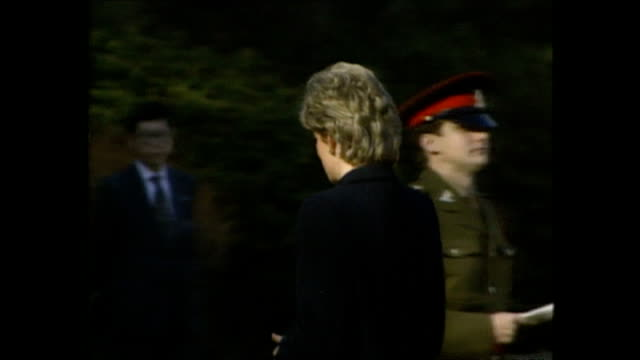 exterior shots of princess diana, princess of wales, being shown round yokohama war cemetery a commonwealth war cemetary and speaking to priest,... - japan stock videos & royalty-free footage