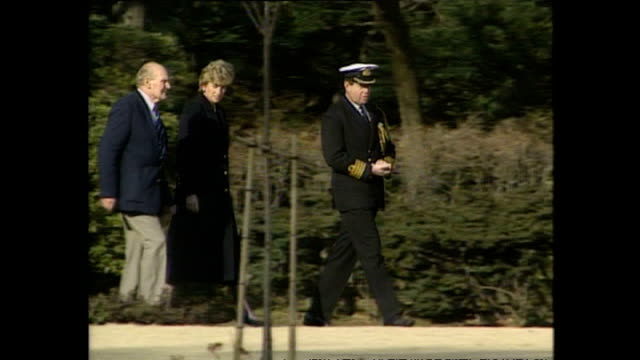 exterior shots of princess diana, princess of wales, being shown round yokohama war cemetery a commonwealth war cemetary, during royal tour on 7... - japan stock videos & royalty-free footage