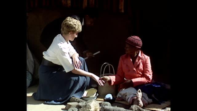 exterior shots of princess diana, princess of wales, being shown round tongogara refugee camp during her royal tour on 13 july 1993, tonogara,... - repubblica dello zimbabwe video stock e b–roll