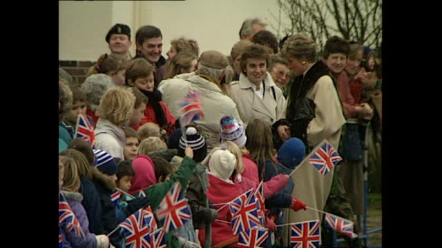 exterior shots of princess diana, princess of wales, greeting residents, waving union jack flags, on a visit to a british army base in hohne on... - union army stock videos & royalty-free footage