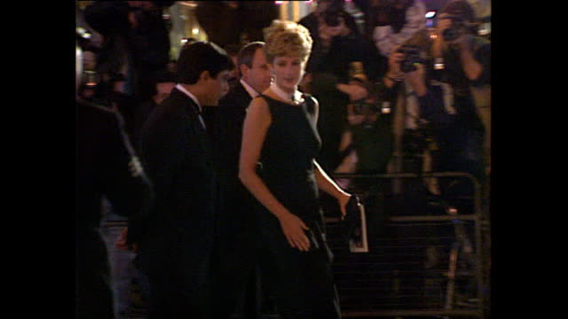 Exterior shots of Princess Diana Princess of Wales leaving the premiere of the film 'The Fugitive' and getting into car on 23 September 1993 London...