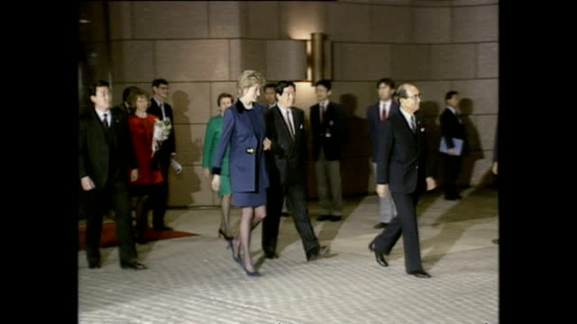exterior shots of princess diana, princess of wales, leaving the red cross headquarters after visit during royal tour on 8 february 1995, tokyo,... - japan stock videos & royalty-free footage