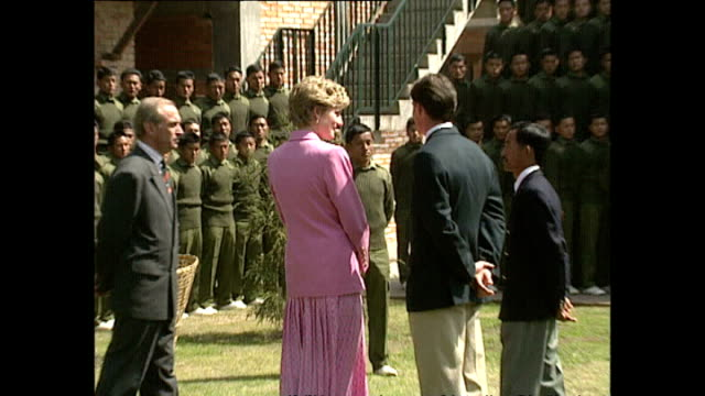 exterior shots of princess diana, princess of wales meeting gurkhas and chatting to officials during her royal visit on 4 march 1993, unspecified,... - princess stock videos & royalty-free footage