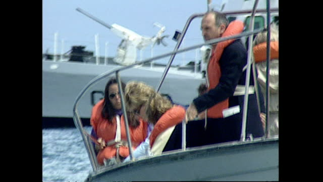 exterior shots of princess diana princess of wales on a whale watching tour boat sailing at sea looking at whales on 25 november 1995 in argentina - whale watching stock videos & royalty-free footage