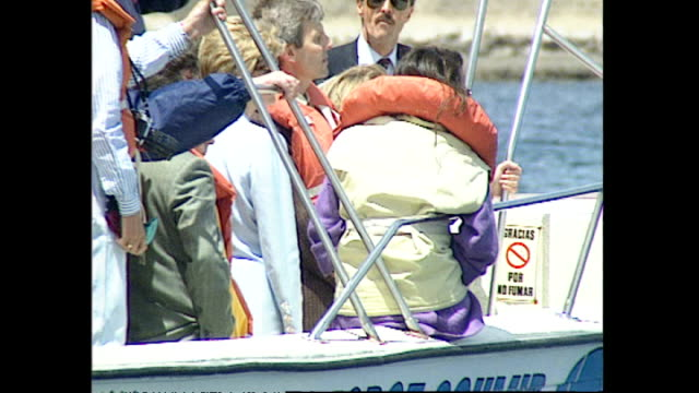 stockvideo's en b-roll-footage met exterior shots of princess diana princess of wales on a whale watching tour boat sailing at sea looking at whales on 25 november 1995 in argentina - 1995