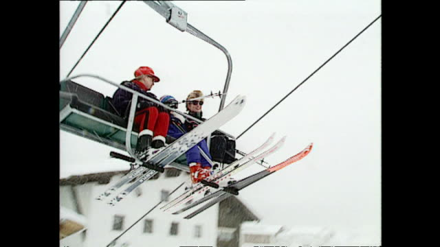 exterior shots of princess diana, princess of wales, on chairlift with prince william whilst on skiing holiday on 28 march 1993 lech, austria. - ski holiday stock videos & royalty-free footage