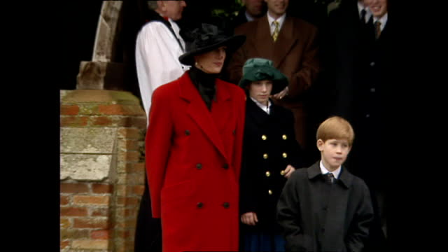 Exterior shots of Princess Diana Princess of Wales Prince William and Prince Harry outside Sandringham Estate after Christmas service they then walk...