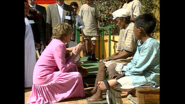 Exterior shots of Princess Diana Princess of Wales visiting Anandaban Hospital speaking to doctors and meeting leprosy patients during her royal...
