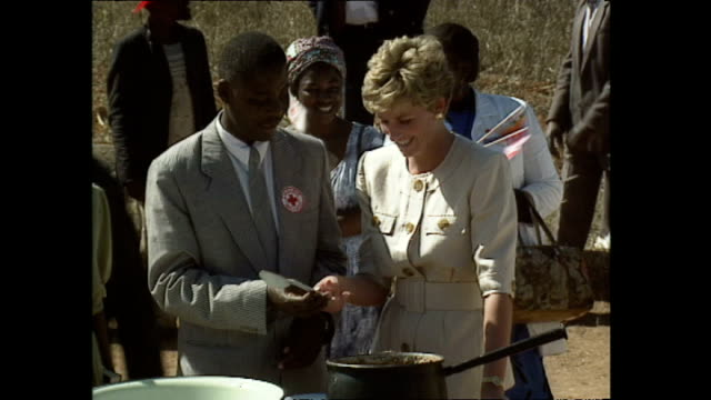 exterior shots of princess diana princess of wales visiting red cross feeding station handing out bowls of food during her royal visit on 10 july... - ロイヤルツアー点の映像素材/bロール