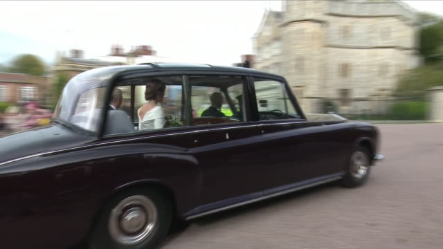exterior shots of princess eugenie at windsor castle in car for her wedding accompanied by her father prince andrew duke of york on 12 october 2018... - prinzessin stock-videos und b-roll-filmmaterial