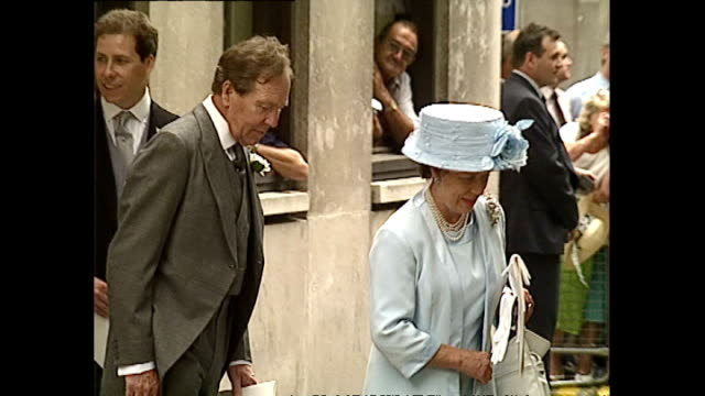 stockvideo's en b-roll-footage met exterior shots of princess margaret viscount linley lady serena and lord snowdon departing st stephen's walbrook church after the wedding of daniel... - prinses margaret windsor gravin van snowdon