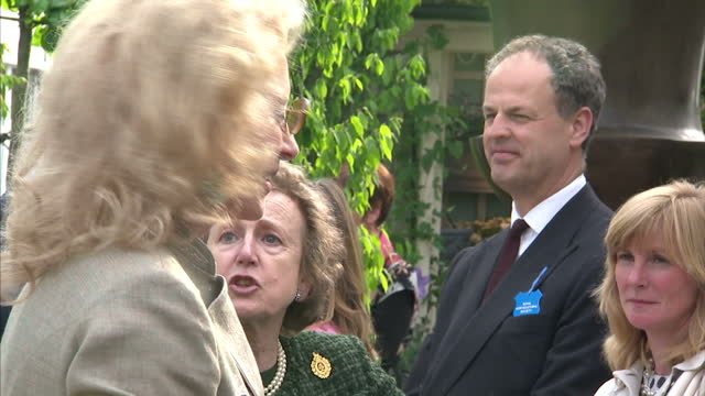 exterior shots of princess michael of kent and her husband prince michael of kent arriving and greeting people at the chelsea flower show at royal... - princess michael of kent stock videos and b-roll footage