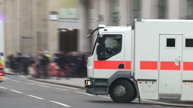 exterior shots of prison vans departing from the old bailey carrying michael adebolajo and michael adebowale after the men were found guilty of... - lee rigby stock videos & royalty-free footage