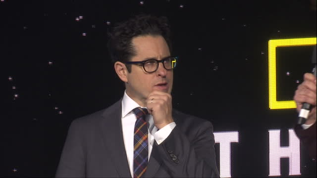 Exterior shots of producer JJ Abrams being interviewed on stage by Alex Zane back view of George Lucas watching him on stage at the premiere of Star...
