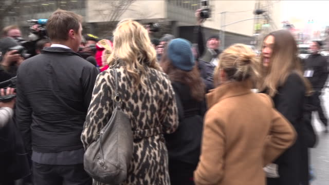 exterior shots of protestors outside the state supreme court during harvey weinstein's first day in court. protestors include rosanna arquette, paula... - rosanna arquette stock videos & royalty-free footage