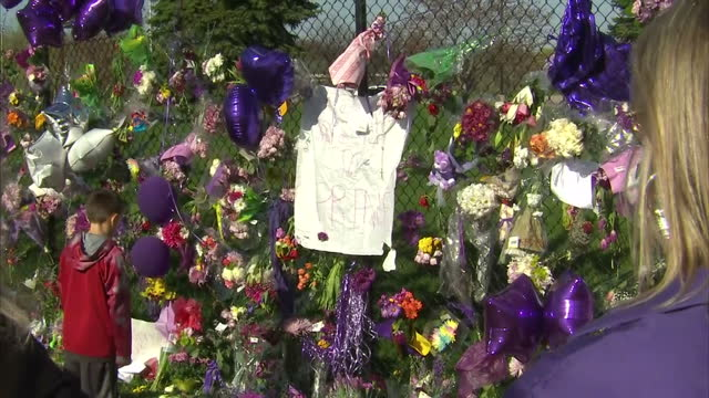 exterior shots of purple balloons outside the paisley park compound of prince after his sudden death filmed on april 22 2016 in minneapolis minnesota... - 芸術家点の映像素材/bロール