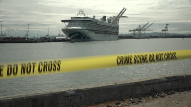 exterior shots of quarantined cruise ship grand princess docked in the port of oakland on 10th march 2020 oakland, united states. - förtöjd bildbanksvideor och videomaterial från bakom kulisserna