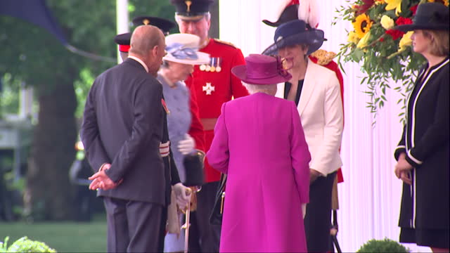 exterior shots of queen elizabeth and prince philip duke of edinburgh arriving at horse guards parade and greeting officials before an event to... - horse guards parade stock videos and b-roll footage