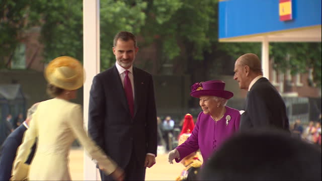 Exterior shots of Queen Elizabeth and Prince Philip Duke of Edinborough welcoming King Felipe and Queen Litizia of Spain at a ceremony on Horseguards...