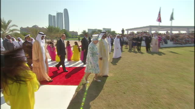 Exterior shots of Queen Elizabeth II and her husband Prince Philip Duke of Edinburgh and Prince Andrew greeted by Sheikh Mohammed bin Rashed...