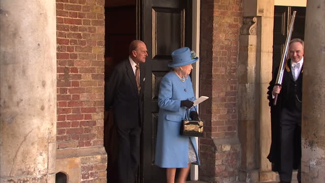 Exterior shots of Queen Elizabeth II and Prince Philip depart Chapel Royal followed by Prince Charles and Camilla Duchess of Cornwall all having a...