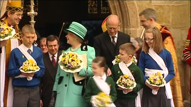 exterior shots of queen elizabeth ii and prince philip duke of edinburgh at the maundy service at st edmundsbury cathedral on april 9 2009 in bury st... - bury st edmunds stock videos & royalty-free footage