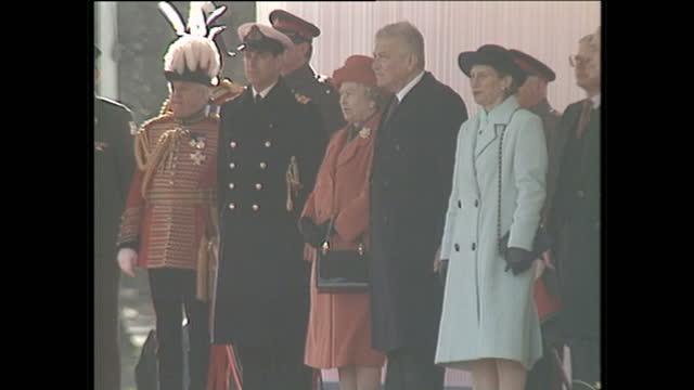 Exterior shots of Queen Elizabeth II and Prince Philip Duke of Edinburgh with Israeli President Ezer Weizman and his wife Prince Philip Ezer Weizman...