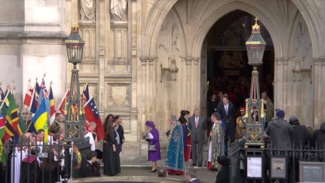 exterior shots of queen elizabeth ii attending commonwealth day service at westminster abbey on 11 march 2019 in london, united kingdom - westminster abbey stock videos & royalty-free footage
