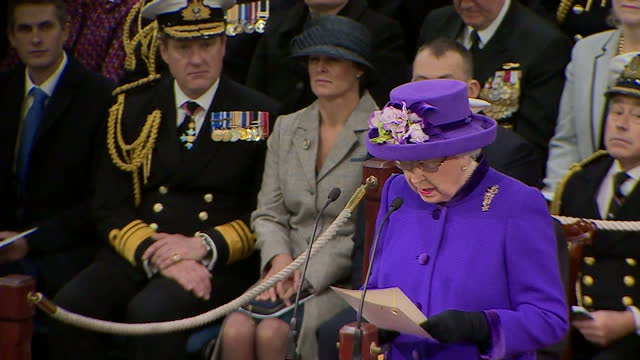 Exterior shots of Queen Elizabeth II attending the Commissioning Ceremony For the Royal Navy's new aircraft carrier HMS Queen Elizabeth on 7th...
