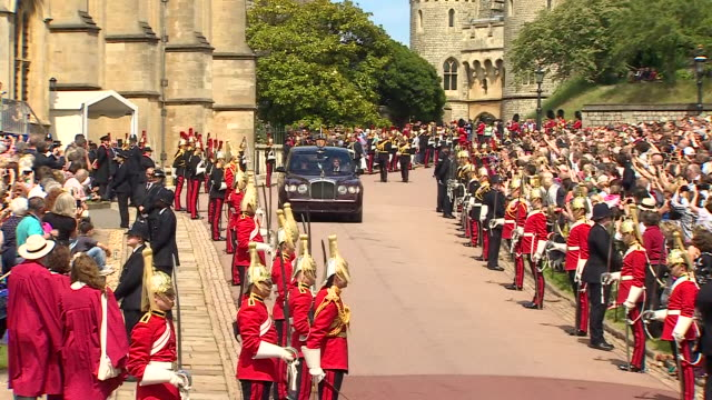 exterior shots of queen elizabeth ii being driven in a car during the royal order of the garter parade outside windsor castle on june 17, 2019... - britisches königshaus stock-videos und b-roll-filmmaterial