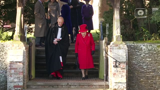 exterior shots of queen elizabeth ii leaving church of christmas day followed by the rest of the royal family on 25th december 2019 in sandringham,... - church stock videos & royalty-free footage