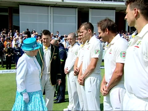 exterior shots of queen elizabeth ii meeting and shaking hands with the australian cricket team introduced by captain michael clarke before play on... - second test stock videos & royalty-free footage