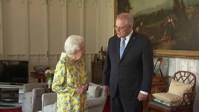 GBR: UK: Queen Elizabeth meets Australia's prime minister Scott Morrison at Windsor Castle.