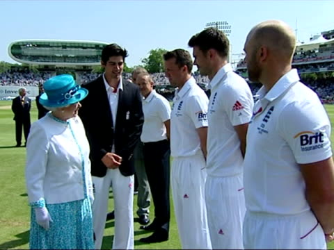 exterior shots of queen elizabeth ii meeting the england cricket team introduced to the team by captain alastair cook before play on the first day of... - second test stock videos & royalty-free footage