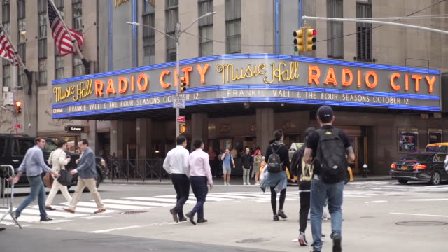 exterior shots of radio city music hall on 21st september 2018 in new york united states - radio city music hall stock videos & royalty-free footage