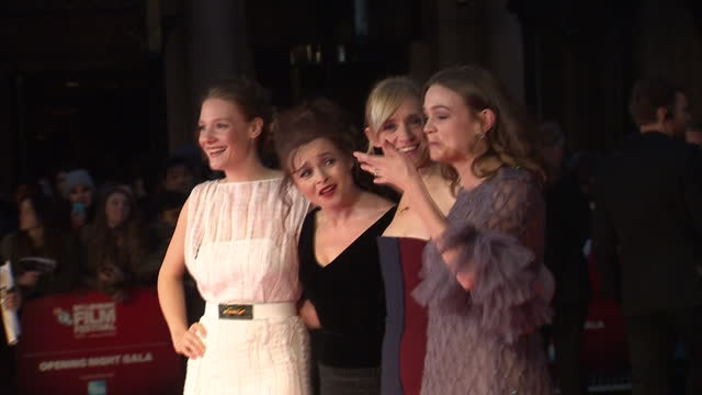 exterior shots of ramola garai helena bonhamcarter anne marie duff and carey mulligan posing together on the red carpet at the premiere of... - romola garai stock videos & royalty-free footage