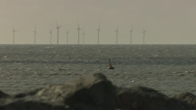 exterior shots of rampion offshore wind farm off the coast and navigation buoys in the water of sussex on 6 october 2020 in newhaven, united kingdom. - buoy stock videos & royalty-free footage