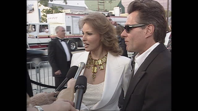 exterior shots of raquel welch and husband richie palmer on the oscars vanity fair party red carpet on 26th march 2001 in los angeles, california,... - vanity fair stock videos & royalty-free footage