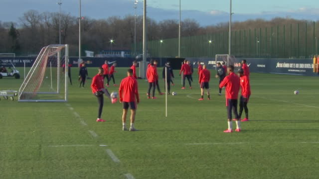 exterior shots of rb leipzig players at training ahead of champions league match with tottenham hotspur on the 9th march 2020 in leipzig germany - sports league stock videos & royalty-free footage