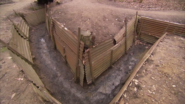 Exterior shots of recreated World War One trenches with corrugated iron sides in Ypres on March 04 2010 in Ypres Belgium
