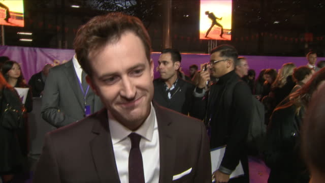 Exterior shots of red carpet interview with Joseph Mazzello as he attends the World Premiere of 'Bohemian Rhapsody' at SSE Arena Wembley on 23rd...