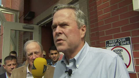 exterior shots of republican presidential hopeful jeb bush speaking to the media about the race for the republican nomination, shortly before his... - nomination stock videos & royalty-free footage