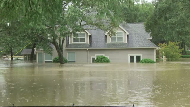 Exterior shots of residential houses and streets flooded due to Hurricane Harvey on 29th August 2017 Houston Texas